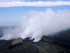 Hawaii Volcanoes National Park, fumes over the volcano