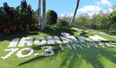 Ironman 70.3 logo made out of coral at Mana Lani, Kohala Coast, Hawaii Island