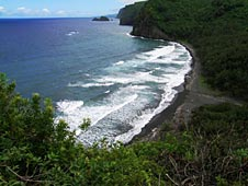 Big Island, Pololu Valley, black sand beach