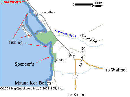 Shore fishing on the Big Island of Hawaii, map