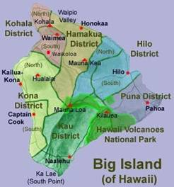 Map of Big Island of Hawaii, Big Island Vacation Rentals